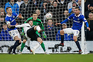 Fulham forward Luciano Vietto (19) attempts a scissor-kick during The FA Cup 3rd round match between Fulham and Oldham Athletic at Craven Cottage, London, England on 6 January 2019.