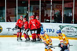 HDD SIJ Jesneice celebrating during Alps League Ice Hockey match between HDD SIJ Jesenice and Migross Supermercati Asiago Hockey on April 17, 2021 in Ice Arena Podmezakla, Jesenice, Slovenia. Photo by Peter Podobnik / Sportida