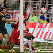 Bradley Wright-Phillips, (right), New York Red Bulls, forces the ball into the net past goalkeeper Donovan Ricketts and Diego Valeri, (left), Portland Timbers, the goal was disallowed for offside during the New York Red Bulls Vs Portland Timbers, Major League Soccer regular season match at Red Bull Arena, Harrison, New Jersey. USA. 24th May 2014. Photo Tim Clayton