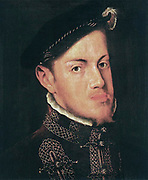 Philip II (May 21, 1527 – September 13, 1598)  King of Spain from 1556 until 1598, King of Naples from 1554 until 1598, king consort of England (as husband of Mary I) from 1554 to 1558, King of Portugal and the Algarves (as Philip I) from 1580 until 1598 and King of Chile from 1554 until 1556.