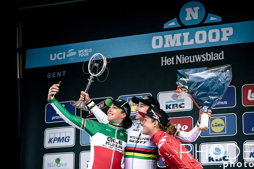 podium with race winner Annemiek Van Vleuten (NED/Mitchelton Scott) and 3th place finisher Floortje Mackaij (NED/Sunweb) and 2nd place finisher Marta Bastianelli (ITA/Ale BTC Ljubljana)<br /> <br /> 75th Omloop Het Nieuwsblad 2020 (BEL)<br /> Women's Elite Race <br /> Gent – Ninove: 123km<br /> <br /> ©kramon75th Omloop Het Nieuwsblad 2020 (BEL)<br /> Women's Elite Race <br /> Gent – Ninove: 123km<br /> <br /> ©kramon