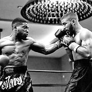 DAYTONA BEACH, FL - FEBRUARY 08:  Gabriel Chacon (R) gets punched by Anthony Savilla during their boxing match at Hard Rock Hotel Daytona on February 8, 2020 in Daytona Beach, Florida. (Photo by Alex Menendez/Getty Images) *** Local Caption *** Gabriel Chacon; Anthony Savilla