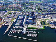 Nederland, Noord-Holland, Gemeente Amsterdam; 02-09-2020; Buiksloterham, terrein van de voormalige NDSM werf met Kraanspoor. Jachthaven Amsterdam Marina.<br /> Buiksloterham, site of the former NDSM wharf with Kraanspoor. Amsterdam Marina marina.<br /> <br /> luchtfoto (toeslag op standaard tarieven);<br /> aerial photo (additional fee required)<br /> copyright © 2020 foto/photo Siebe Swart