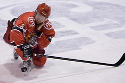 Andrej Hebar of Jesenice injured at 14th Round of EBEL league  ice hockey match between HK Acroni Jesenice and HDD Tilia Olimpija Ljubljana, on October 16, 2009, in Arena Podmezakla, Jesenice. Acroni Jesenice won 7:5. (Photo by Vid Ponikvar / Sportida)