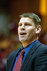 02 December 2006: Redbird coach Porter Moser. In a non-conference game, the Mavericks of University of Texas at Arlington lost to the Redbirds home 86-61. The win was the 5th in a row for the Redbirds, the longest winning streak in 6 years. the game was played at Redbird Arena in Normal Illinois on the campus of Illinois State University.<br />