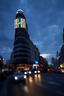 Schweppes building at Gran Via Street in the night
