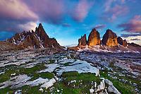 Mountain impression Paternkofel and Tre Cime - Europe, Italy, South Tyrol, Sexten Dolomites, Tre Cime - Sunset - July 2009 - Mission Dolomites Tre Cime