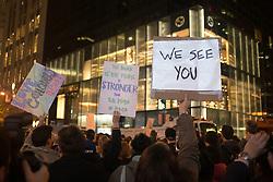 November 9, 2016 - New York, New York, USA - Demonstrators maching in protest again Donald Trump, Trump Tower, New York, New York, November 11, 2016.  Photograph © Beowulf Sheehan/ZUMA Press (Credit Image: © Beowulf Sheehan/ZUMA Wire)