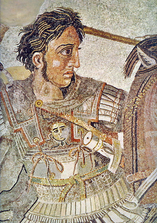 The Alexander Mosaic, dating from circa 100 BC, is a famous Roman floor mosaic originally from the House of the Faun in Pompeii. It depicts a battle between the armies of Alexander the Great and Darius III of Persia and measures 5.82 x 3.13m (19 ft x 10 ft 3in). The mosaic illustrates a battle in which Alexander faced and attempted to capture or kill Darius. Alexander defeated the Persian leader twice, first at the 333 BC Battle of Issus and two years later at the Battle of Gaugamela. The work is traditionally believed to show the Battle of Issus. Detail showing Alexander