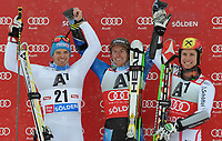ALPINE SKIING - WORLD CUP 2012/2013 - SOELDEN (AUT) - 28/10/2012 - PHOTO  GIOVANNI AULETTA / PENTAPHOTO / DPPI - MEN GIANT SLALOM - Manfred Moelgg (ITA), Ted Ligety (USA), Marcel Hirscher (AUT)