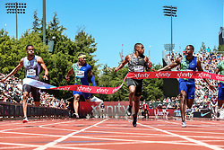 Christian Coleman, USA, looks toward second-place Justin Gatlin in winning the 100 meters with world-leading time of 9.81 at 2019 The Prefontaine Classic Track & Field<br /> IAAF Diamond League