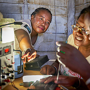 """""""Solar Mamas"""" repair solar lights in Ambakivao, a village set among mangroves in the western coastal region of Madagascar. <br /> <br /> Madagascar is the world's forth largest island off the coast of east Africa."""