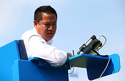 June 19, 2017 - London, United Kingdom - Umpire James Keothavong  Nick Kyrgios AUS against Donald Young (USA ) during Round One match on the first day of the ATP Aegon Championships at the Queen's Club in west London on June 19, 2017  (Credit Image: © Kieran Galvin/NurPhoto via ZUMA Press)