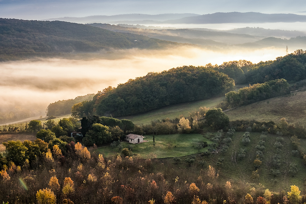 Autumn morning in the metalliferous hills in Tuscany, Italy