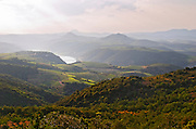 Vineyards, mountains and the Barrage de l'Agly dam. Caramany, Ariege, Roussillon, France