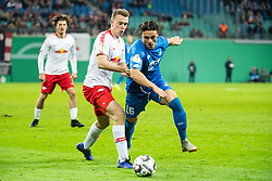 LEIPZIG, Nov. 1, 2018  Leipzig's Lukas Klostermann (C) vies with Hoffenheim's Nico Schulz (R) during the 2nd round match of German Cup between RB Leipzig and TSG 1899 Hoffenheim, in Leipzig, Germany, on Oct. 31, 2018. Leipzig won 2-0. (Credit Image: © Kevin Voigt/Xinhua via ZUMA Wire)