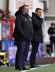 Celtic manager Ange Postecoglou (left) and Aberdeen manager Stephen Glass on the touchline during the cinch Premiership match at Pittodrie Stadium, Aberdeen. Picture date: Sunday October 3, 2021.