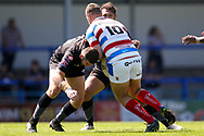 Bradford Bulls second row Cameron Smith (37) dislodges the ball from Rochdale Hornets prop Gavin Bennion (10) in the tackle during the Kingstone Press Championship match between Rochdale Hornets and Bradford Bulls at Spotland, Rochdale, England on 18 June 2017. Photo by Simon Davies.