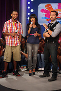 l to r:  Terrence J, Rosci, and Jeremy Pivens at BET's 106 & Park promotion of Jeremy Pivens' new film ' The Goods' on August 6, 2009 in New York City