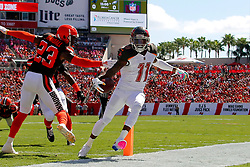 October 21, 2018 - Tampa, FL, U.S. - TAMPA, FL - OCT 21: DeSean Jackson (11) of the Bucs takes a hand off from Bucs quarterback Jameis Winston and runs the ball into the end zone for the touchdown during the regular season game between the Cleveland Browns and the Tampa Bay Buccaneers on October 21, 2018 at Raymond James Stadium in Tampa, Florida. (Photo by Cliff Welch/Icon Sportswire) (Credit Image: © Cliff Welch/Icon SMI via ZUMA Press)