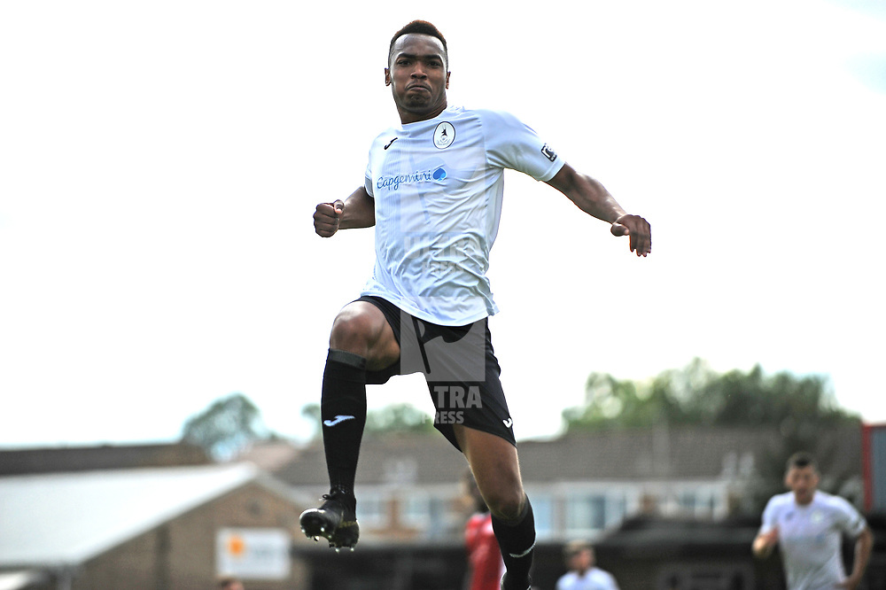 TELFORD COPYRIGHT MIKE SHERIDAN GOAL. Marcus Dinanga scores to make it 1-1 during the National League North fixture between Brackley Town and AFC Telford United at St James's Park on Saturday, September 7, 2019<br /> <br /> Picture credit: Mike Sheridan<br /> <br /> MS201920-016