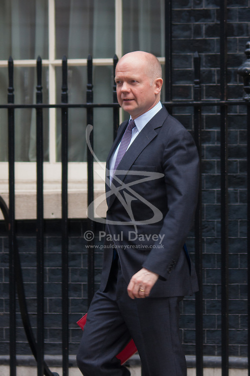 London, March 10th 2015. Ministers arrive at the weekly cabinet meeting at 10 Downing Street. PICTURED: William Hague, Leader of the House of Commons