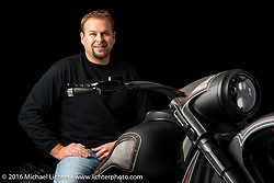 An orange and flat black custom bagger built from a 2016 Harley-Davidson Road Glide by The Chopp Shopp in Taylorsville, NC and owned by Nick Beck. Photographed by Michael Lichter during the Easyriders Bike Show in Columbus, OH on February 19, 2016. ©2016 Michael Lichter.