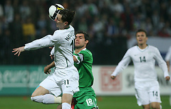 Aaron Huges (18) and Milivoje Novakovic (11) during the fourth round qualification game of 2010 FIFA WORLD CUP SOUTH AFRICA in Group 3 between Slovenia and Northern Ireland at Stadion Ljudski vrt, on October 11, 2008, in Maribor, Slovenia.  (Photo by Vid Ponikvar / Sportal Images)