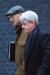 © licensed to London News Pictures. London, UK 07/01/2014. Sir George Young and Andrew Lansley attending to a cabinet meeting in Downing Street on Tuesday, 7 January 2014. Photo credit: Tolga Akmen/LNP