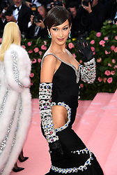 "Bella Hadid at the 2019 Costume Institute Benefit Gala celebrating the opening of ""Camp: Notes on Fashion"".<br />