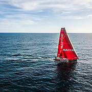 Leg 7 from Auckland to Itajai, day 15 on board MAPFRE, drone shot with the main sail  repaired, 01 April, 2018.