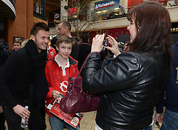 Bristol City Goalkeeper, Dave Richards poses for photos with Bristol City fans - Photo mandatory by-line: Dougie Allward/JMP - Mobile: 07966 386802 - 11/03/2015 - SPORT - Football - Bristol - Cabot Circus Shopping Centre - Johnstone's Paint Trophy