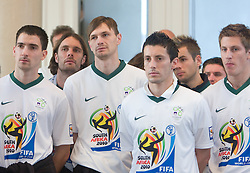 Branko Ilic, Marko Suler, Milivoje Novakovic, Robert Koren, Elvedin Dzinic and Valter Birsa at Reception of Slovenian National football team at president of Republic of Slovenia dr. Danilo Turk after Slovenia qualified for the FIFA World Cup South Africa 2010, in President's place , Ljubljana, Slovenia.   (Photo by Vid Ponikvar / Sportida)