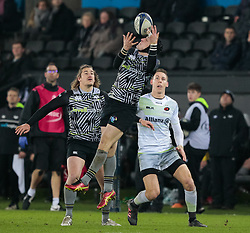 Ospreys' Sam Davies claims the high ball<br /> <br /> Photographer Simon King/Replay Images<br /> <br /> European Rugby Champions Cup Round 5 - Ospreys v Saracens - Saturday 13th January 2018 - Liberty Stadium - Swansea<br /> <br /> World Copyright © Replay Images . All rights reserved. info@replayimages.co.uk - http://replayimages.co.uk