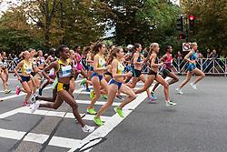 Tufts Health Plan 10K for Women Jordan Hasay leads pack of elite women from the start line