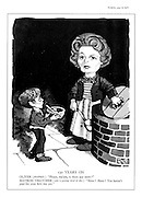 "130 Years On. Oliver (pleadingly): ""Please, ma'am, is there any more?"". Matron Thatcher (who is getting tired of this): ""More? More? You haven't paid for your first one yet."" (Minister of Education Margaret Thatcher shown as a hard matron in a modern take on the story Oliver Twist)"