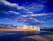 Orographic lenticular clouds east of the Sierra Nevada and above tufa towers on Mono Lake, Mono Lake Tufa State Reserve and Mono Basin National Forest Scenic Area, Inyo National Forest, California,