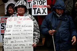 © Licensed to London News Pictures. 16/03/2013, London, UK. Campaigners protest against bedroom tax outside Croydon Town Hall, south London, Saturday, March 16, 2013. Photo credit : Sang Tan/LNP