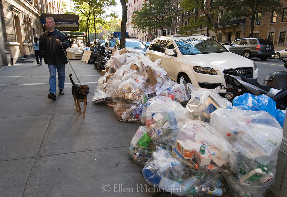 Bags of Recyclables left on the Curb for Pickup on Manhattan's Upper West Side