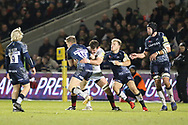 Sale Shark's Mike Haley stopped during the Aviva Premiership match between Sale Sharks and Saracens at the AJ Bell Stadium, Eccles, United Kingdom on 16 February 2018. Picture by George Franks.