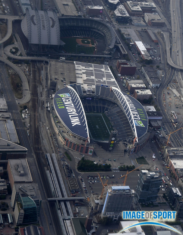 Sep 11, 2016; Seattle, WA, USA; General aerial view of CenturyLink Field (bottom) and Safeco Field before a NFL game between the Miami Dolphins and the Seattle Seahawks at CenturyLink Field.