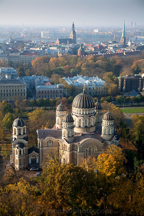The Nativity of Christ Cathedral in Latvia's capital city Riga, with Riga's Old Town and the Daugava River in the distance. (From the book What I Eat: Around the World in 80 Diets.)   Riga, a UNESCO World Heritage Site, has the oldest continuously running market in Europe, and is known throughout Europe for its choral traditions. It proudly hosts the nationwide Latvian Song and Dance Festival every five years. In 2008 more than 38,000 singers, dancers, and musicians participated in the weeklong event.