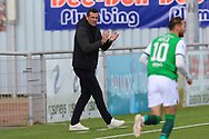 Hibenian Manager Jack Ross pointing, directing, signalling, gesture during the Betfred Scottish League Cup match between Cove Rangers and Hibernian at Balmoral Stadium, Aberdeen, Scotland on 10 October 2020.
