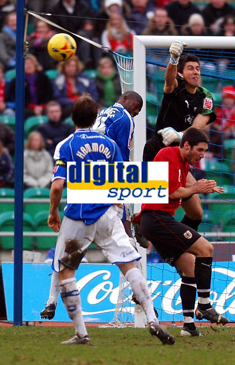 Photo: Alan Crowhurst.<br />Brighton & Hove Albion v Bristol City. Coca Cola League 1. 24/02/2007. Bristol keeper Adriano Basso clears with a punch.