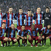 Trabzonspor's players (Left to Right) (Front Row) Marek CECH, Serkan BALCI, ALANZINHO, Deguy Alain Didier ZOKORA, Gustavo COLMAN, (Back Row) (Left to Right), Halil ALTINTOP, Remzi Giray KACAR, Burak YILMAZ, Ondrej CELUSTKA, Arkadiusz GLOWACKI, goalkeeper Tolga ZENGIN during their UEFA Champions League group stage matchday 5 soccer match Trabzonspor between Inter at the Avni Aker Stadium at Trabzon Turkey on Tuesday, 22 November 2011. Photo by TURKPIX