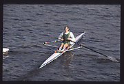 London. United Kingdom. GBR LM1X Carl SMITH,1990 Scullers Head of the River Race. River Thames, viewpoint Chiswick Bridge Saturday 07.04.1990<br /> <br /> [Mandatory Credit; Peter SPURRIER/Intersport Images] 19900407 Scullers Head, London Engl