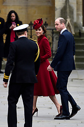 © Licensed to London News Pictures. 09/03/2020. LONDON, UK. The Duke and Duchess of Cambridge arrive at Westminster Abbey to attend the annual church service on Commonwealth Day.  Photo credit: Stephen Chung/LNP