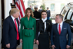 United States President Donald J. Trump and first lady Melania Trump welcome King Abdullah II and Queen Rania of Jordan to the White House in Washington, DC on Wednesday, April 5, 2017.<br /> Credit: Ron Sachs / CNP *** Please Use Credit from Credit Field ***