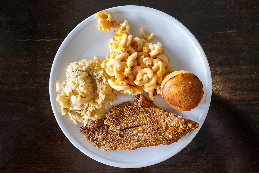 Delicious pan fried catfish, hasbrown caserole, and mac 'n cheese for lunch at Farmview Market in Madison, Georgia on Friday, July 16, 2021. Copyright 2021 Jason Barnette