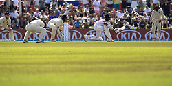 November 7, 2018 - Galle, Sri Lanka - Sri Lankan cricketer Niroshan Dickwella plays a shot England cricketer Rory Burns (2L) reacts during the 2nd day's play of the first test cricket match between Sri Lanka and England at Galle International cricket stadium, Galle, Sri Lanka. 11-07-2018  (Credit Image: © Tharaka Basnayaka/NurPhoto via ZUMA Press)